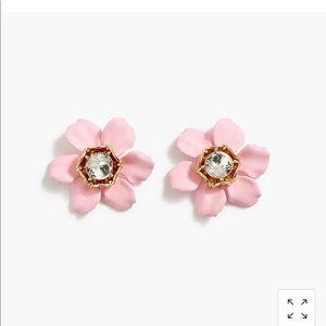 J crew pink flower earrings NWT